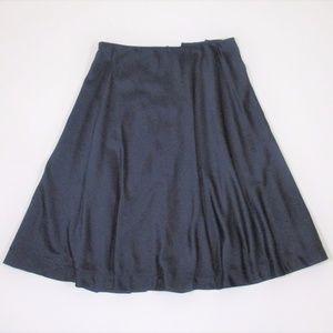J Peterman 8 Navy Blue A line Silky Knee Skirt EUC